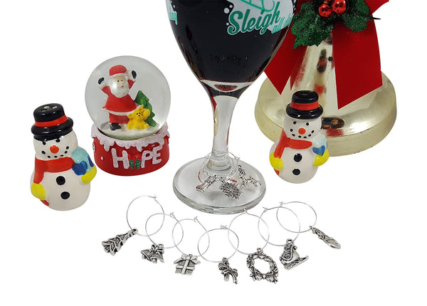 10 Piece Christmas Themed Wine Charm Set