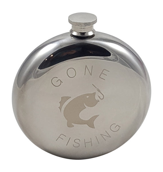 Gone Fishing - 10 oz Round Flask Gift Set