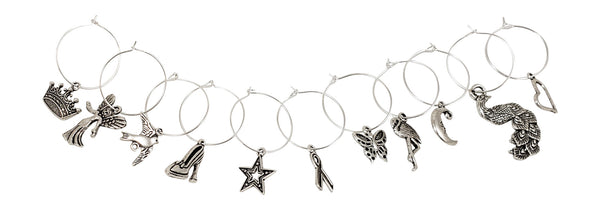 11 Piece Girl Power Themed Wine Charm Set