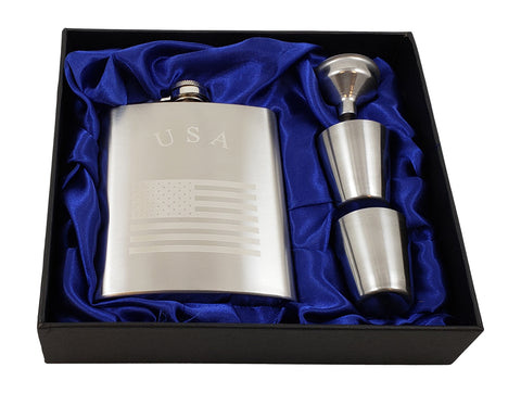 USA Flask Gift Set - 7 oz Flask Engraved with American Flag
