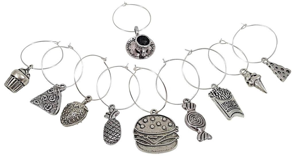 Food Lovers Themed Wine Charms 10 Piece Wine Charm Set Great Gift Palm City Products