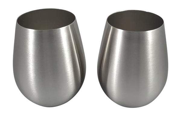 Stainless Steel Stemless Wine Glasses - Two Piece Set