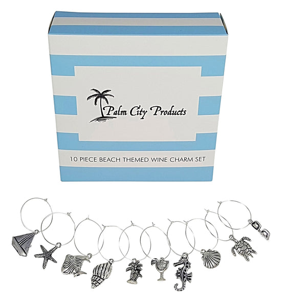 Sun and Sport Themed Wine Charm Set - Bundle of Beach and Sports Themes, 18 Pieces Total