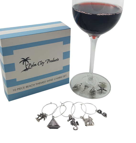 30 Piece Wine Charm Set with Beach, Animal, and World Travel Themed Gift Sets