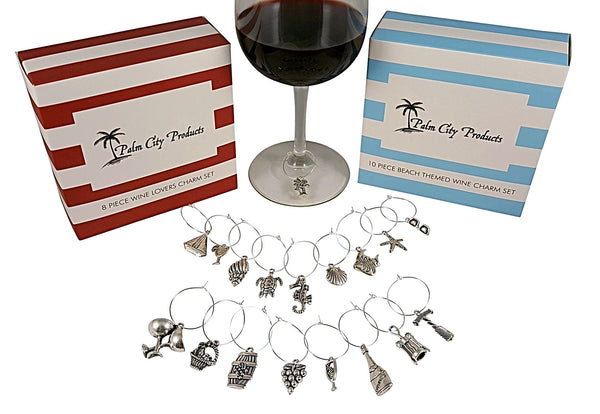 Ultimate Wine Charm Set - 56 Pieces in Six Different Styles: Beach, Wine Lovers, World Travel, Sports, Animal, and Food Lovers Themes