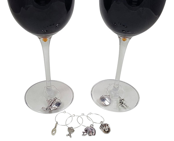 Sports Themed Wine Charms - 8 Piece Wine Charm Set - Great Gift for Sports Fans