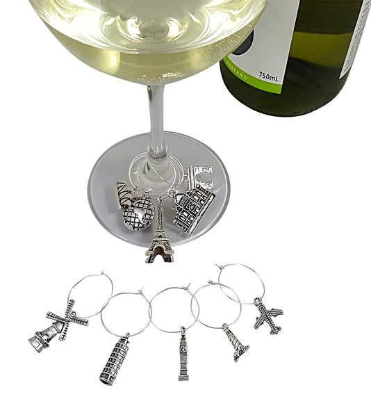 Travel & Animal Themed Wine Charm Gift Set with 20 Beautiful Wine Charms
