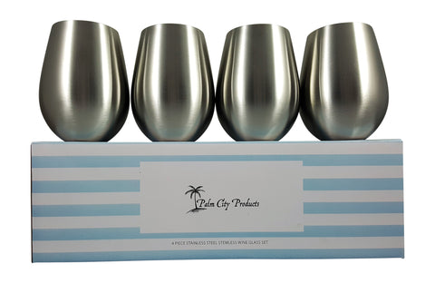 Stainless Steel Stemless Glasses - Four Piece Set
