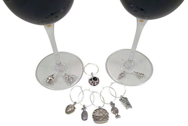 Food and Fun Wine Charm Bundled Gift Set - Food Lovers, Beach, and Sports Themes, 28 Pieces Total