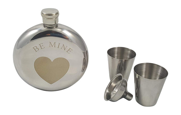 Be Mine Flask Gift Set, 5 oz Flask Engraved with a Heart