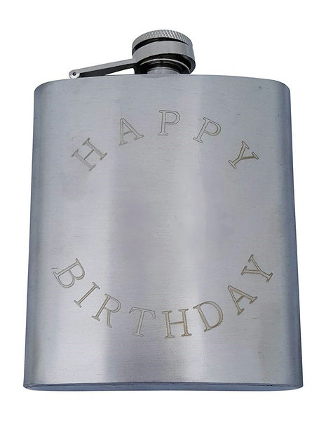 "Happy Birthday Flask Gift Set - 7 oz Flask Engraved with ""Happy Birthday"""