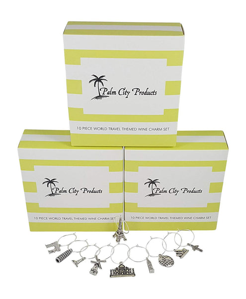 Bundle of 3 World Travel Themed Wine Charm Sets