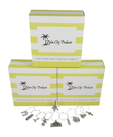Bundle of 3 Travel Themed Wine Charm Sets