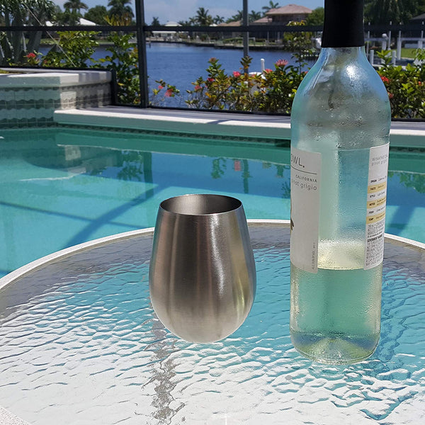 Stainless Steel Stemless Wine Glasses - Four Piece Set