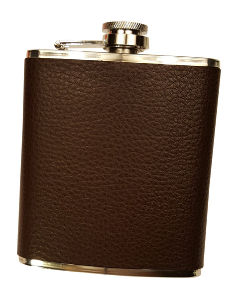 Brown Leather 7 Oz Flask Gift Set with Two Shot Glasses and Funnel