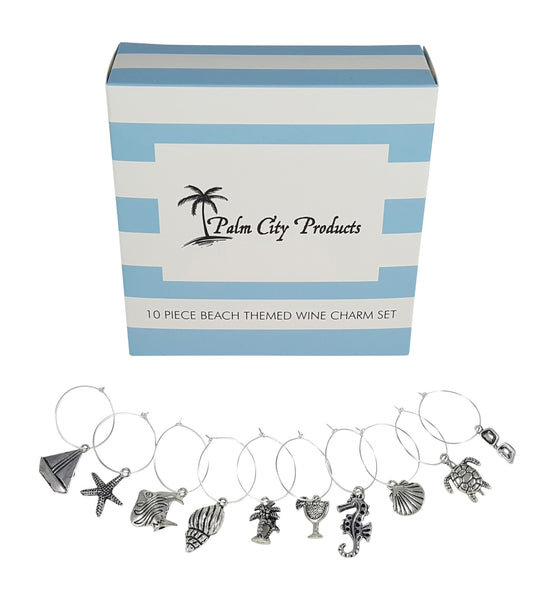 Bundle of Two Charm Sets - 18 Pieces Total, Beach and Wine Lovers Themes