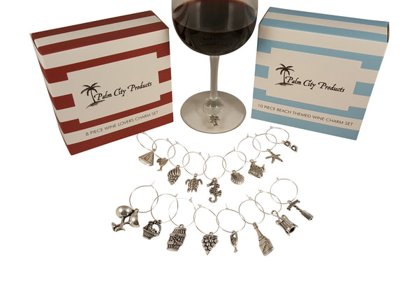Palm City Products Wine and Beach Charm Sets next to a glass of wine