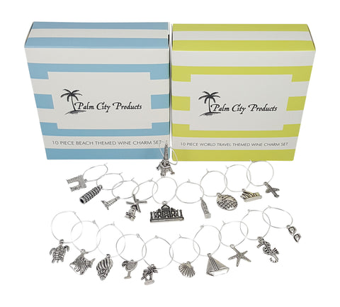 Palm City Products Bundle of Beach and Travel Themed Wine Charms