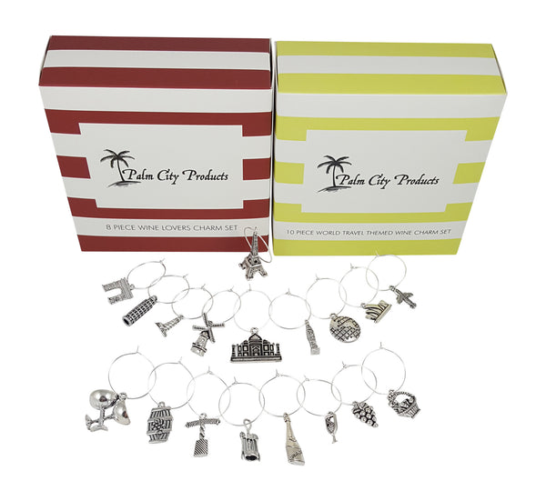 Palm City Products Bundle of Wine Charms - Wine and World Travel Themes