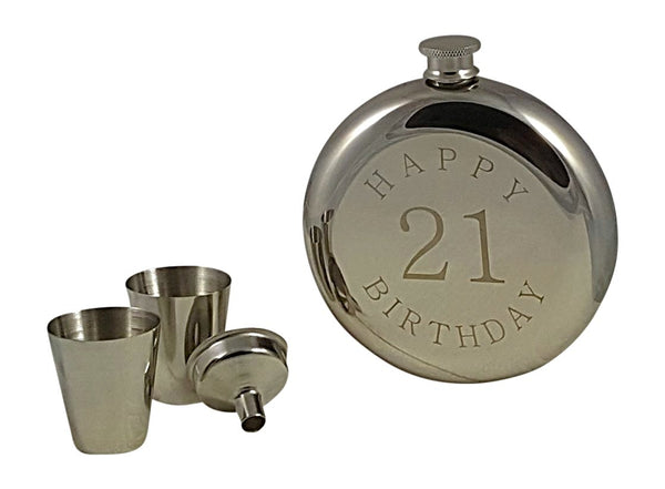 Happy 21st Birthday Flask Gift Set