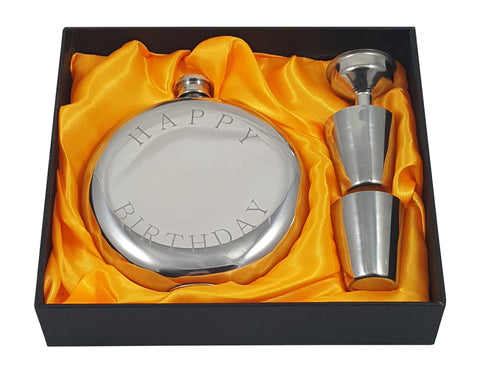 Flask gift set with Happy Birthday engraved