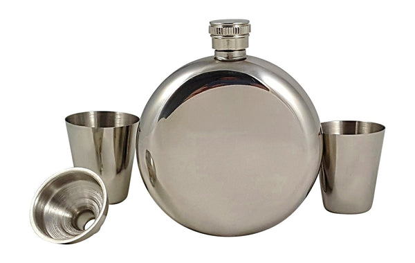 5 oz Round Flask Gift Set with Two Shot Glasses and Funnel