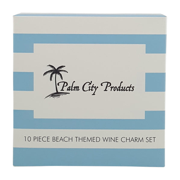 10 Piece Beach Themed Wine Charm Set
