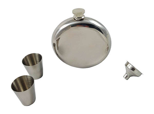 10 oz Round Flask Gift Set with Two Shot Glasses and Funnel