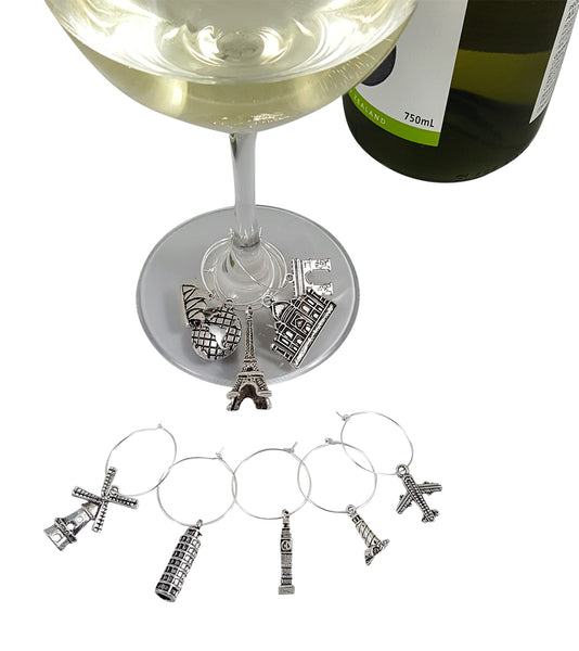 Glass of Chardonnay with Palm City Products Travel Themed Wine Charms on Stem
