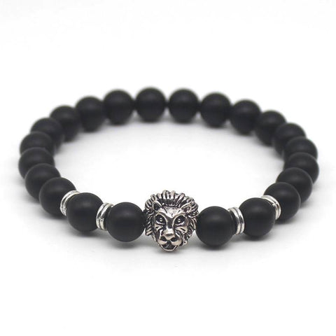 Bracelet - Mens Black Lion Lava Stone Beaded Bracelet