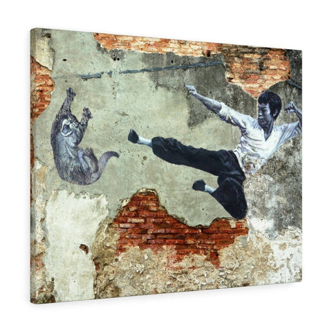 Canvas - Bruce Flying Kick Canvas Print