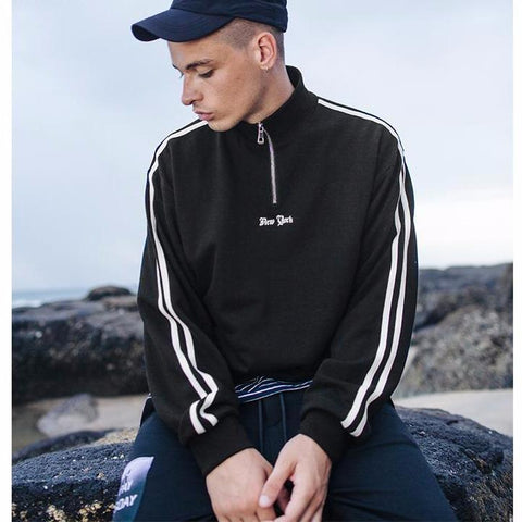 Casual Men's Striped Turtleneck Hoodie