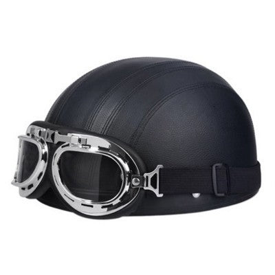 Helmet - Open Face Retro Helmet With Goggles