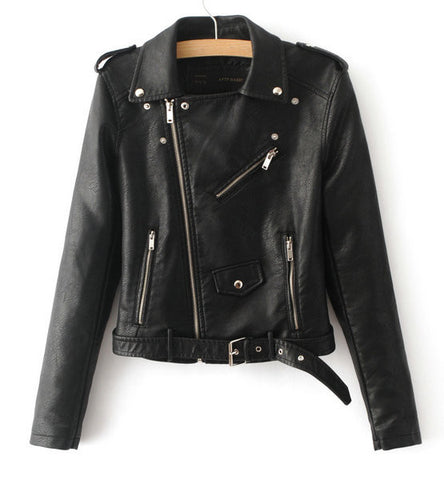 Jacket - Ladies Faux Leather Motorcycle Jacket