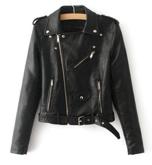 Ladies Faux Leather Motorcycle Jacket