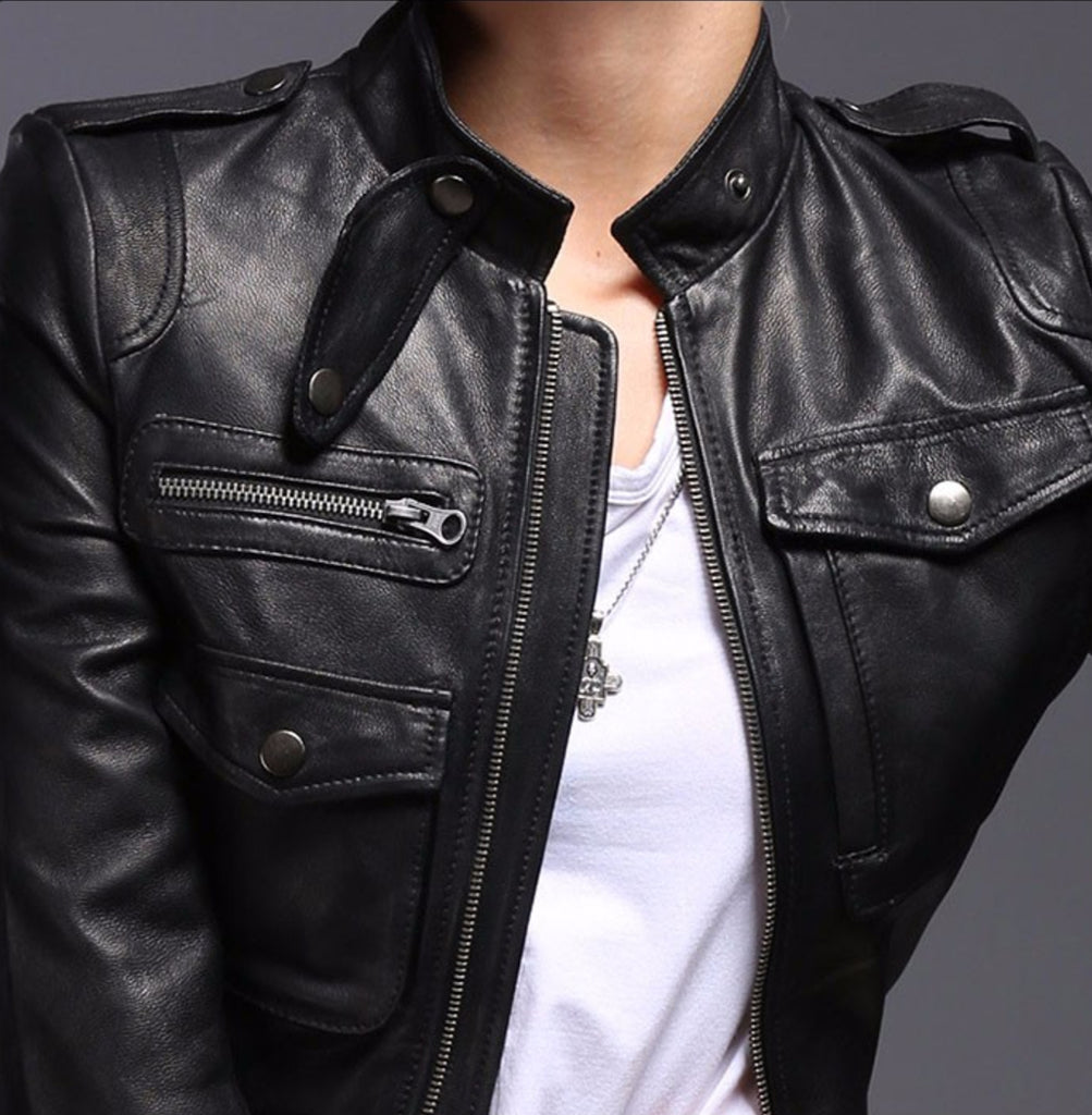 Jacket - Ladies Genuine Leather Moto Jacket