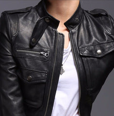 Ladies Genuine Leather Moto Jacket