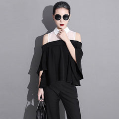 Korean Ruffle Style Hollow Shoulder Top