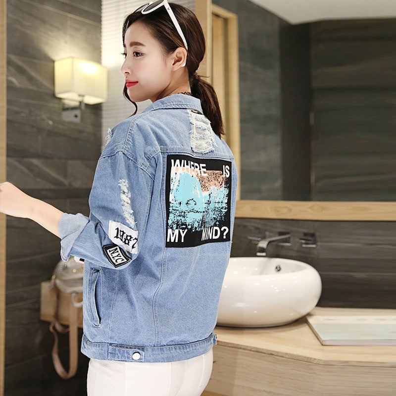 Ladies Denim Patch Print Jacket