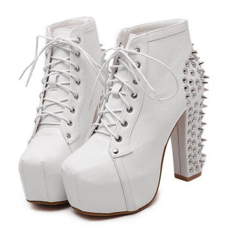 Ladies High Heel Punk Ankle Boots