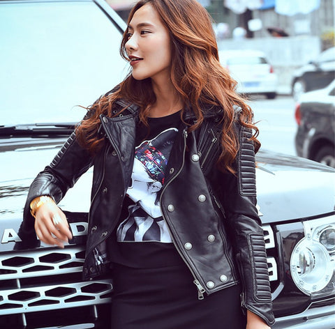 Ladies Leather Slim Moto Jacket