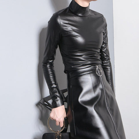 Leather - Leather Turtleneck Long Sleeve Top
