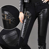 Leather - Zipper PU Leather Denim Skinny Pencil Pants