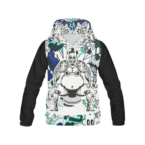 Men's All Over Print Hoodie - Sumo Power Black Sleeve Hoodie