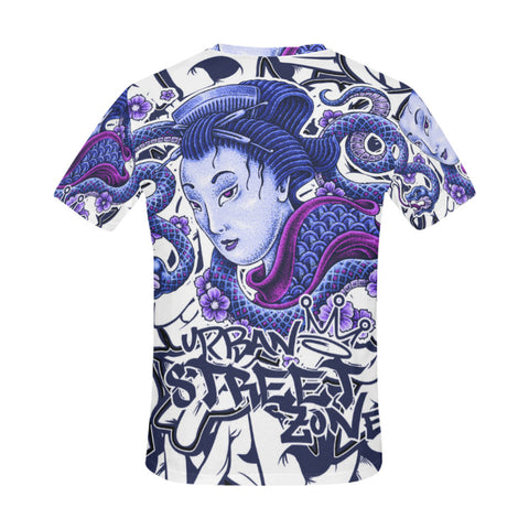 Men's All Over Print T-Shirt - Geisha Snake Tee