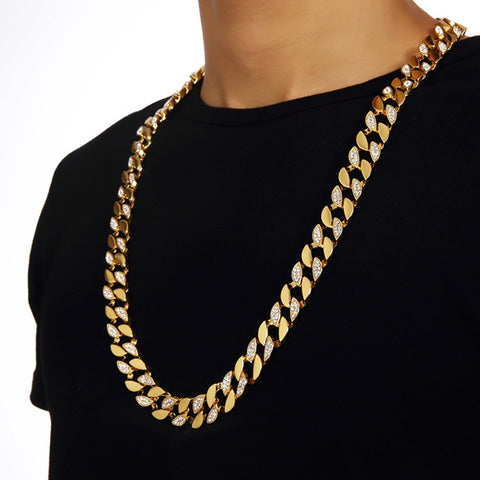 Mens Thick Hip Hop Gold Finish Cuban Necklace