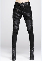 Ladies Cotton Faux Leather Stylish Trousers