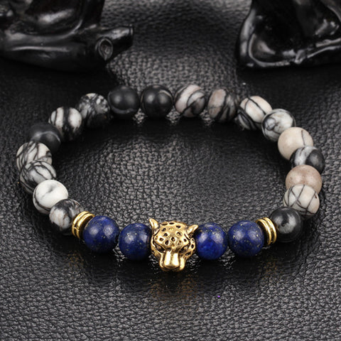 Leopard Head Lava Stone Bracelet many colors