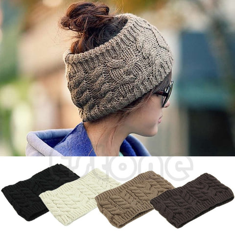 Ladies Knitted Empty Skull Top Beanie w/ 4 colors