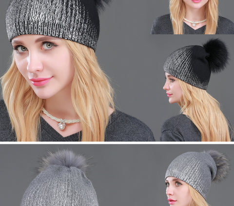 Ladies Knitted Wool Fashion Pom Pom Beanie -11 color variations